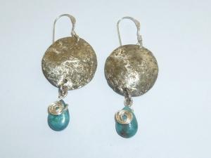 Wire Wrap Drop Earring With Turquoise Teardrop Bead
