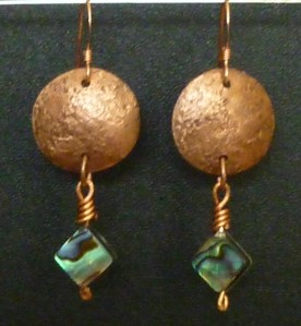 Copper and Abalone Earring